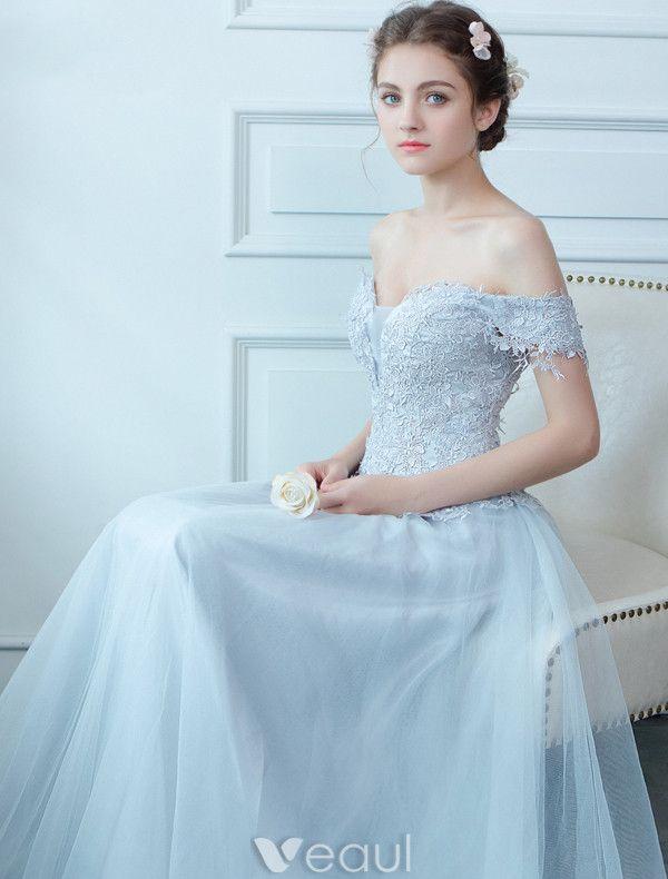 Glamorous Evening Dresses 2017 Off The Shoulder Applique Light Sky Blue Lace Floor Length Dress