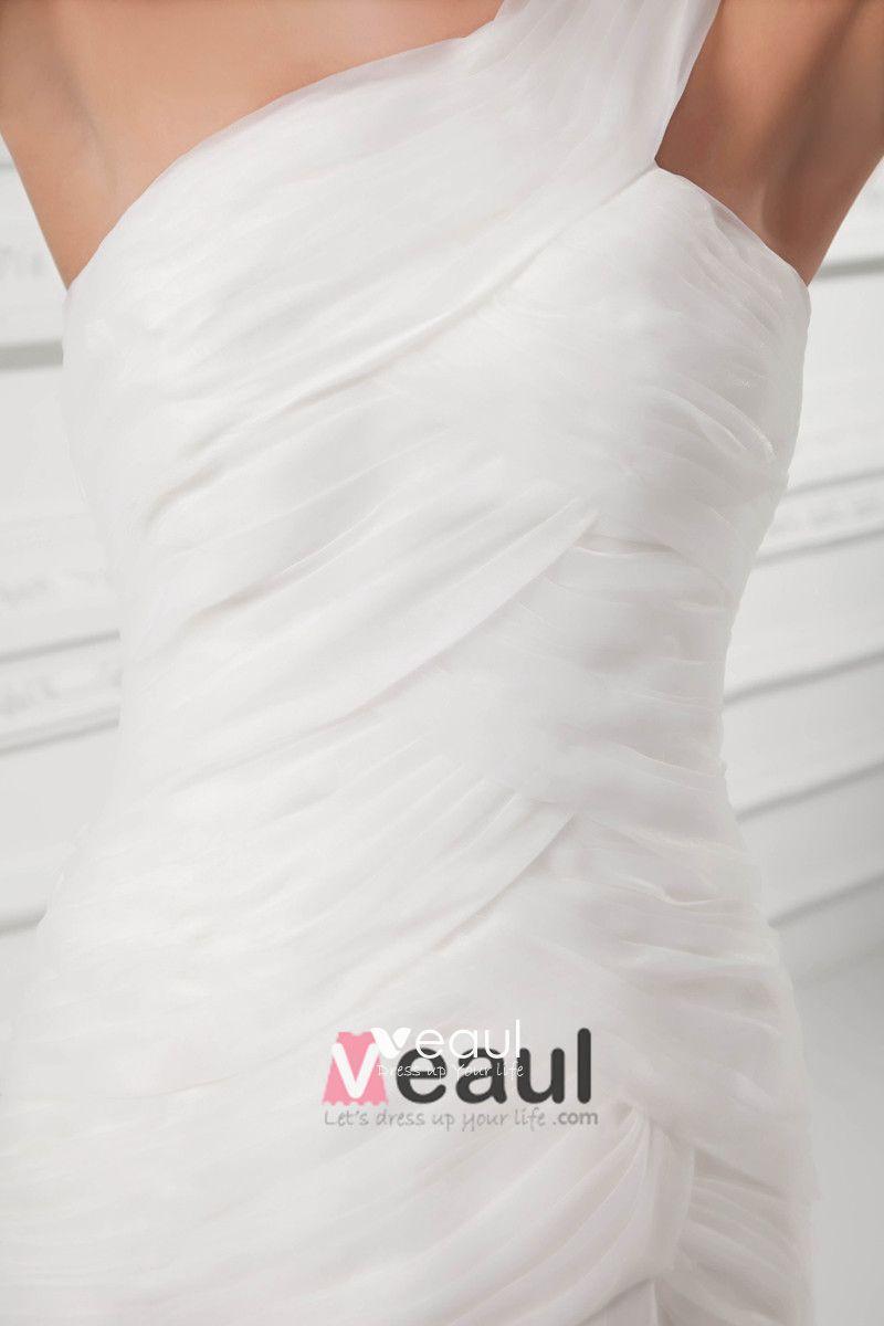 Organza Ruffle One Shoulder Court Train Mermaid Wedding Dress