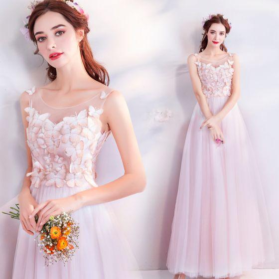 Schöne Pink Durchsichtige Abendkleider 2018 A Linie Rundhalsausschnitt Ärmellos Applikationen Schmetterling Lange Rüschen Festliche Kleider