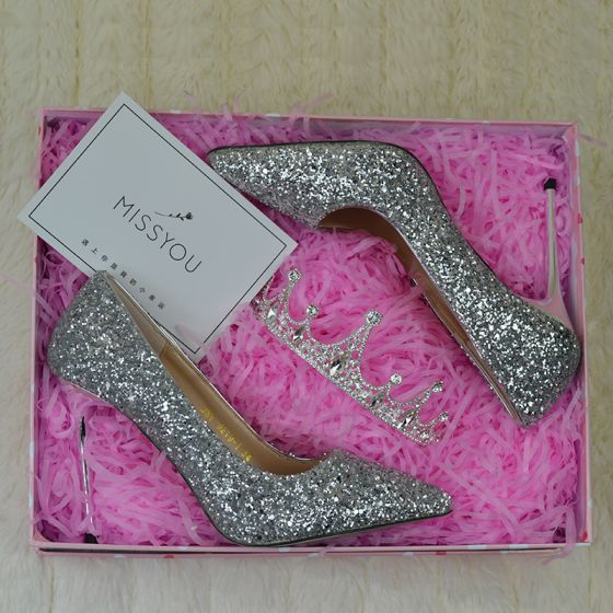 Sparkly Silver Wedding Shoes 2019 Sequins 9 cm Stiletto Heels Pointed Toe Wedding Pumps