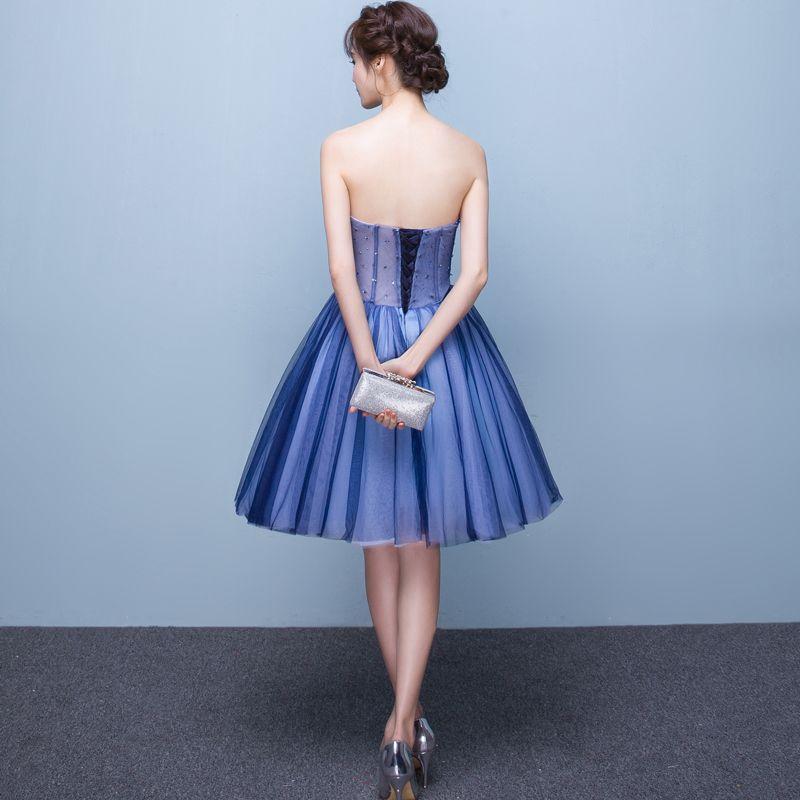 Sexy Océan Bleu Robe De Cocktail 2019 Princesse Bustier Perlage Paillettes Cristal En Dentelle Fleur Sans Manches Dos Nu Courte Robe De Ceremonie