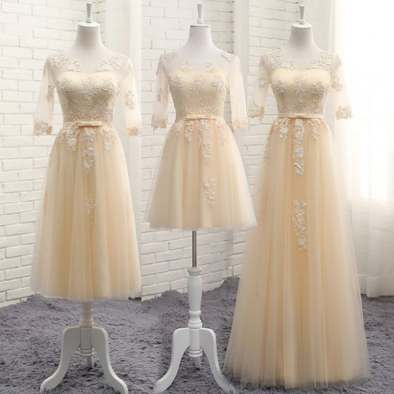 Chic / Beautiful Champagne See-through Summer Bridesmaid Dresses 2018 A-Line / Princess Scoop Neck 1/2 Sleeves Appliques Lace Bow Sash Ruffle Backless Wedding Party Dresses
