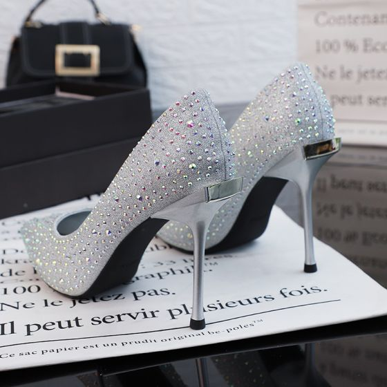 Sparkly Silver Wedding Shoes 2019 Sequins Rhinestone 10 cm Stiletto Heels Pointed Toe Wedding Pumps