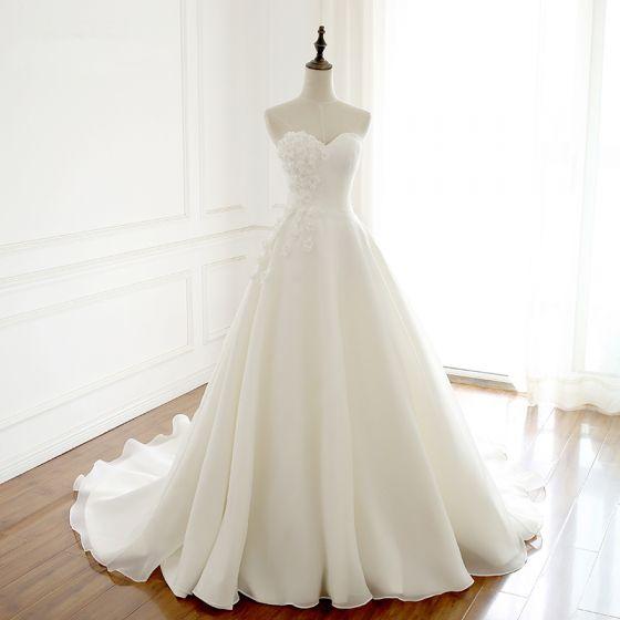 moda marfil vestidos de novia 2018 a-line / princess hecho a mano
