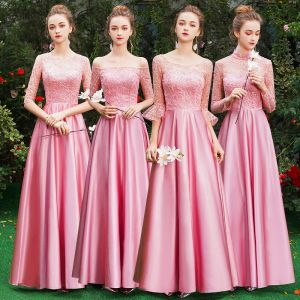 Affordable Candy Pink Satin Bridesmaid Dresses 2019 A-Line / Princess Floor-Length / Long Ruffle Backless Wedding Party Dresses