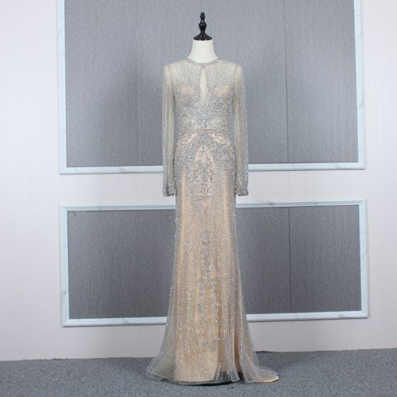 High-end Champagne Grey See-through Evening Dresses  2020 Trumpet / Mermaid Scoop Neck Long Sleeve Handmade  Beading Sweep Train Formal Dresses
