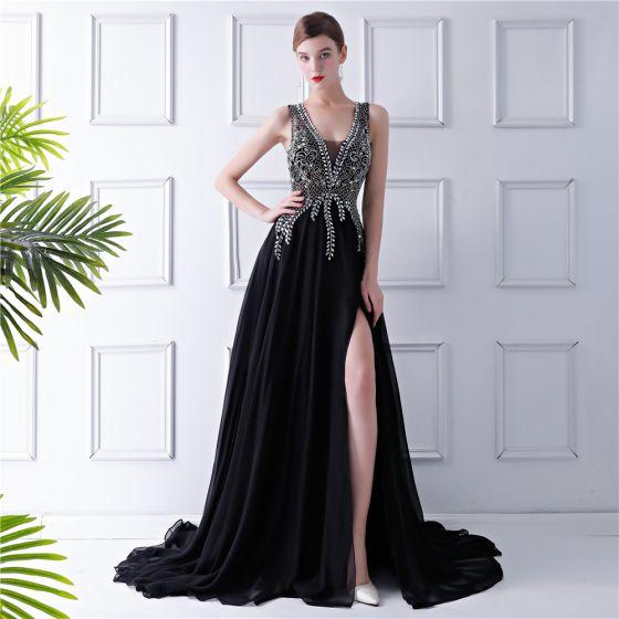 385e728ff4c Moderne   Mode Noire Chiffon Transparentes Robe De Soirée 2019 Princesse V-Cou  Sans Manches Perlage Faux Diamant Fendue devant ...