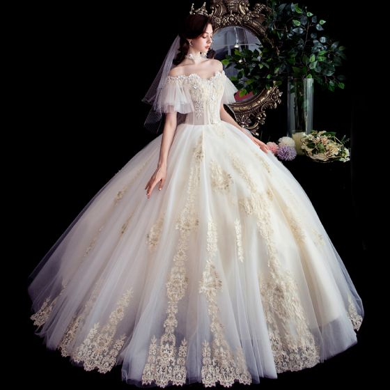 Best Champagne Outdoor / Garden Wedding Dresses 2020 Ball Gown Off-The-Shoulder Short Sleeve Backless Appliques Lace Beading Floor-Length / Long Ruffle