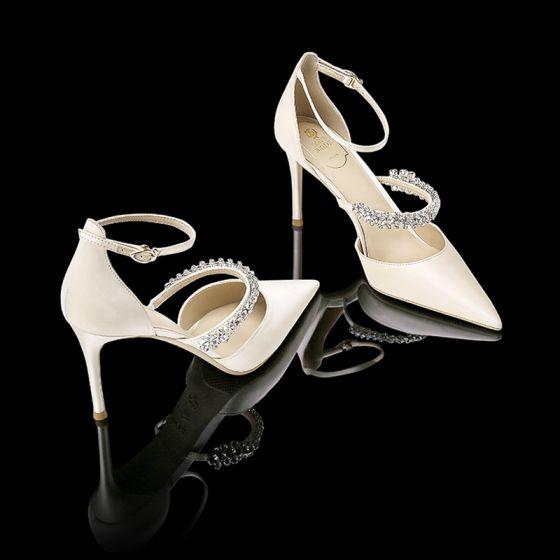 Chic / Beautiful Ivory Wedding Shoes Leather Beading Rhinestone Strappy Wedding Stiletto Heels Pointed Toe Womens Shoes 2019