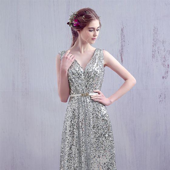 a9a1dc79ff Błyszczące Srebrny 2017 Sukienki Wieczorowe V-Szyja Koronkowe Bez Pleców  Cekinami Homecoming Princessa Strona Sukienka