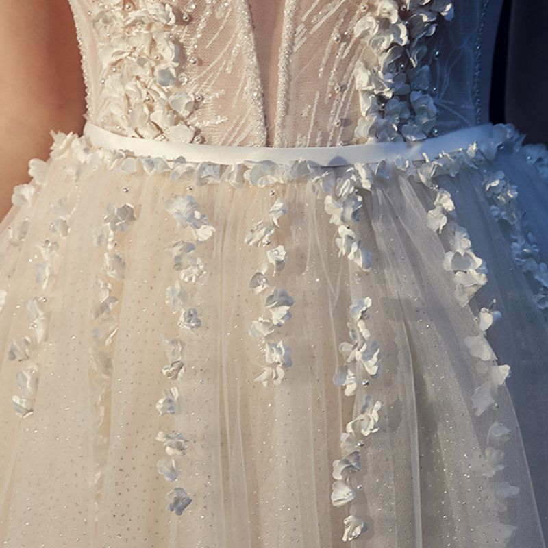 Best Champagne Outdoor / Garden Wedding Dresses 2019 A-Line / Princess Spaghetti Straps See-through Deep V-Neck Sleeveless Backless Appliques Lace Beading Pearl Glitter Tulle Sweep Train Ruffle