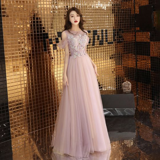 Romantic See-through Lilac Evening Dresses  2019 A-Line / Princess Scoop Neck Short Sleeve Appliques Lace Beading Floor-Length / Long Ruffle Backless Bow Formal Dresses