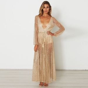 Sexy Doorzichtige Goud Maxi-jurken 2018 V-Hals Lange Mouwen Glans Tule Lace-up Kwast Enkellange Zomer Dameskleding