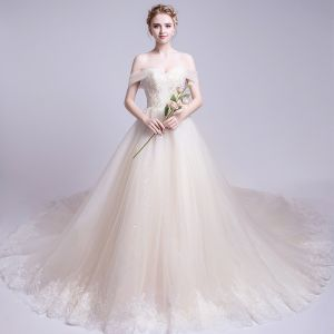 Discount Champagne Wedding Dresses 2018 A-Line / Princess Off-The-Shoulder Short Sleeve Backless Appliques Lace Ruffle Cathedral Train
