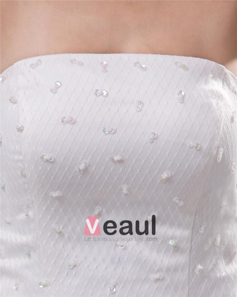Elegant Strapless Floor Length Court Train Satin Lace Sheath Wedding Dress