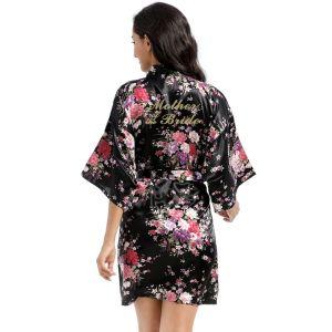 Lujoso Negro Impresión Flor Boda Seda Bata 2020 V-Cuello 3/4 Ærmer Cinturón Vestidos de madrina