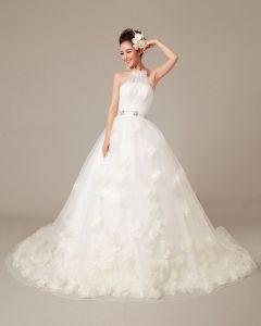 Frezowanie Stale Plisami Aplikacja Organza Wysoki Dekolt Suknia Balowa Suknie Ślubne Suknia Ślubna