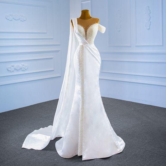 Luxury / Gorgeous White Satin Bridal Wedding Dresses 2021 Trumpet / Mermaid See-through Scoop Neck Short Sleeve Handmade  Beading Pearl Watteau Train Ruffle