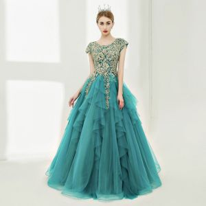 Luxury / Gorgeous Prom Dresses 2017 Ball Gown Lace Flower Pearl Sequins Scoop Neck Floor-Length / Long Sleeveless Formal Dresses
