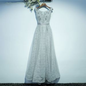 Modest / Simple Grey Bridesmaid Dresses 2017 A-Line / Princess Lace Flower Strappy Scoop Neck Sleeveless Ankle Length Wedding Party Dresses