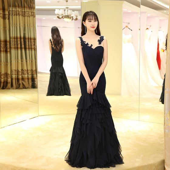 Chic / Beautiful Evening Dresses  2017 Navy Blue Floor-Length / Long Trumpet / Mermaid Pleated Scoop Neck Sleeveless Backless Lace Appliques Pierced Formal Dresses