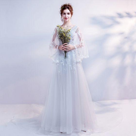 Discount White Pierced Wedding Dresses 2018 A-Line / Princess V-Neck Long Sleeve Backless Appliques Lace Sequins Beading Ruffle Chapel Train