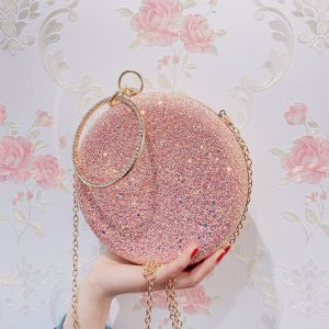 Chic / Beautiful Candy Pink Glitter Round Clutch Bags 2020