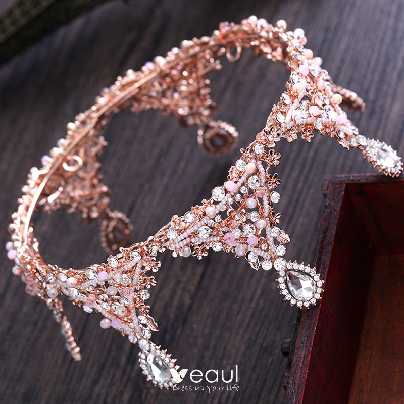 Chic / Beautiful Candy Pink Bridal Jewelry 2017 Metal Beading Crystal Rhinestone Wedding Prom Accessories