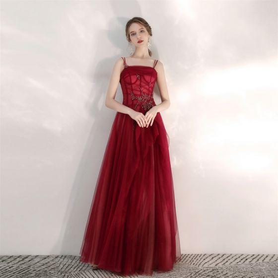 Charming Burgundy Prom Dresses 2020 A-Line / Princess Spaghetti Straps Beading Sequins Sleeveless Backless Floor-Length / Long Formal Dresses