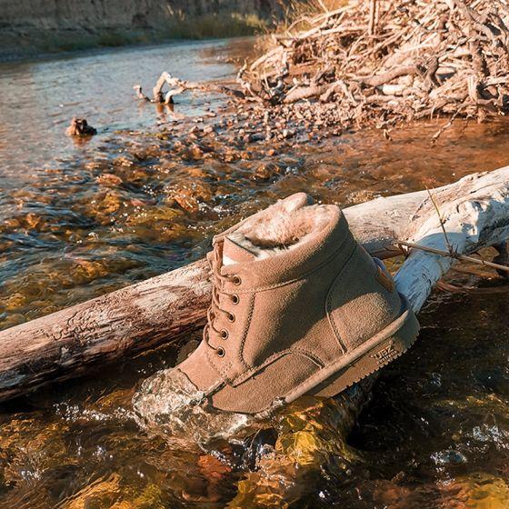 Schlicht Braun Schneestiefel 2020 Woll Wasserdichte Leder Schnüren Ankle Boots Winter Flache Freizeit Runde Zeh Stiefel Damen