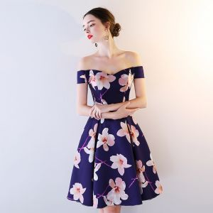 Chic / Beautiful Royal Blue Party Dresses 2018 A-Line / Princess Printing Off-The-Shoulder Backless Sleeveless Knee-Length Formal Dresses
