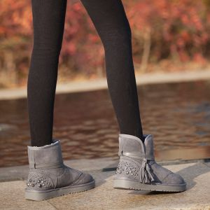 Mode Schneestiefel 2017 Grau Leder Ankle Boots Wildleder Schnüren Quaste Niet Freizeit Winter Flache Stiefel Damen