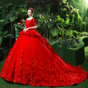 Chic / Beautiful Red Wedding Dresses 2018 Ball Gown Beading Appliques Pearl Sequins Square Neckline Backless Short Sleeve Cathedral Train Wedding