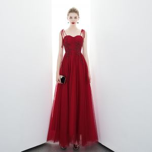 Chic / Beautiful Red Evening Dresses  2020 A-Line / Princess Spaghetti Straps Sleeveless Beading Floor-Length / Long Backless Formal Dresses