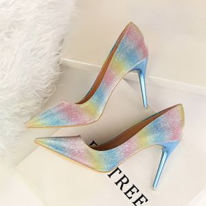Chic / Beautiful Multi-Colors 2018 9 cm High Heels Evening Party Prom Striped Printing Stiletto Heels Pointed Toe Pumps Womens Shoes