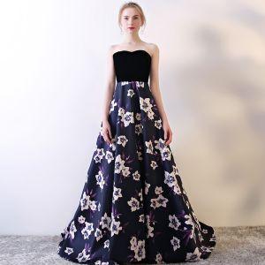 Blumenfee Violett Abendkleider 2017 A Linie Charmeuse Schnalle Drucken Bandeau Abend Festliche Kleider