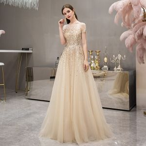 High-end Gold See-through Evening Dresses  2019 A-Line / Princess Square Neckline Short Sleeve Sequins Beading Sweep Train Formal Dresses