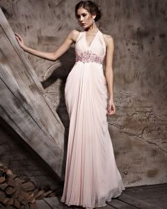Floor Length Hanging V-Neck Sleeveless Tencel Satin Evening Dresses