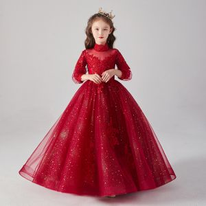 Victorian Style Burgundy See-through Birthday Flower Girl Dresses 2020 Ball Gown High Neck Puffy 3/4 Sleeve Appliques Lace Beading Glitter Tulle Floor-Length / Long Ruffle