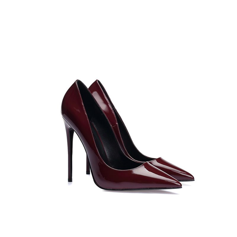 Chic / Beautiful Burgundy Evening Party Pumps 2019 Patent Leather 12 cm Stiletto Heels Pointed Toe Pumps