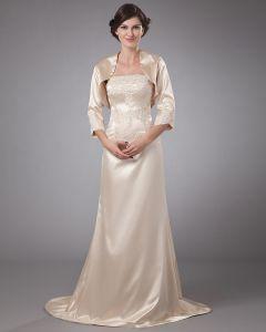 Satin-fußbodenlänge Rüsche Mütter Der Braut Kleid Gäste
