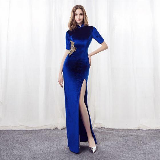 Style Chinois Bleu Roi Daim Robe De Soirée 2018 Trompette / Sirène Col Haut 1/2 Manches Appliques En Dentelle Fendue devant Longue Robe De Ceremonie