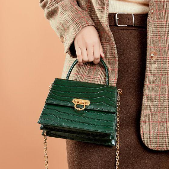 Vintage Grün Quadratische Handtasche Schultertaschen 2021 Krokodilmuster Leder Damentaschen