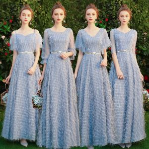 Affordable Sky Blue Lace Bridesmaid Dresses 2019 A-Line / Princess Metal Sash Floor-Length / Long Backless Wedding Party Dresses