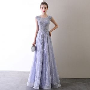 High-end Lavender Evening Dresses  2020 A-Line / Princess Scoop Neck Beading Pearl Rhinestone Lace Flower Sleeveless Backless Floor-Length / Long Formal Dresses