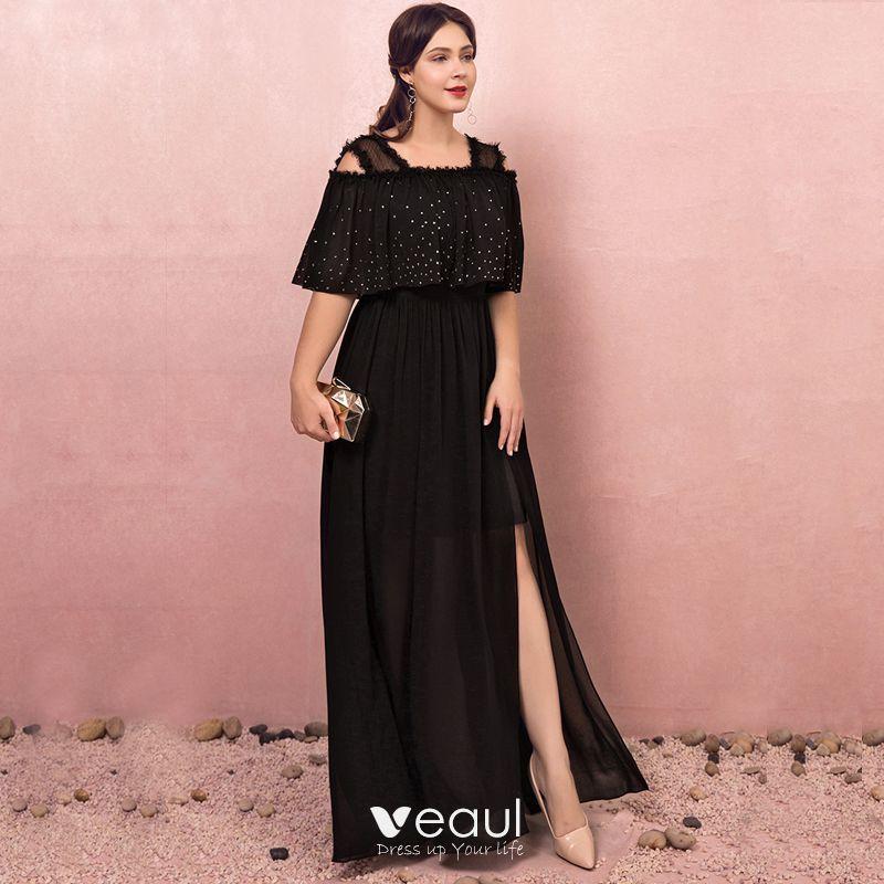 Classic Elegant Black Plus Size Evening Dresses A-Line / Princess 2018  Tulle V-Neck Backless Evening Party Formal Dresses