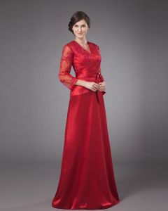 Satin Lace Bowtie V-Neck Mothers of Bride Guests Dresses