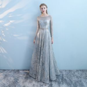 Sparkly Grey Pierced Evening Dresses  2018 Empire Scoop Neck Long Sleeve Metal Sash Glitter Tulle Floor-Length / Long Ruffle Backless Formal Dresses