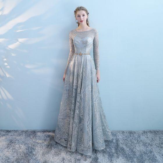 Grey Tulle Empire Dress