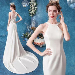 Erschwinglich Ivory / Creme Brautkleider / Hochzeitskleider 2020 Meerjungfrau Rundhalsausschnitt Spitze Blumen Ärmellos Rückenfreies Hof-Schleppe